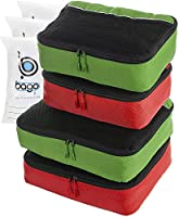 Packing Cubes 4pcs Value Set for Travel - Plus 6pcs Luggage Organiser Zip Bags (2Green+2Red)