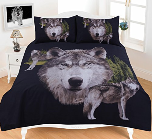 Animal Print Duvet Cover Set Double Size Bed Quilt Designer Bedding Set With Pillowcases , Wolf