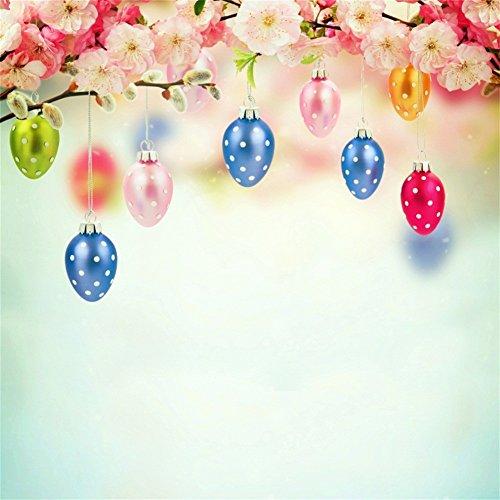 YongFoto 1,5x1,5m Vinyl Foto Hintergrund Ostern Ostereier Peach Blossom Spring Wallpaper Fotografie Hintergrund für Photo Booth Baby Party Banner Kinder Fotostudio Requisiten Wallpaper-banner
