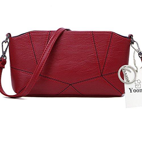 Yoome puro colore per incontro Crossbody Shell Bag Borsa a tracolla Ladies Handbag Borse in pelle morbida - Grigio Rosso