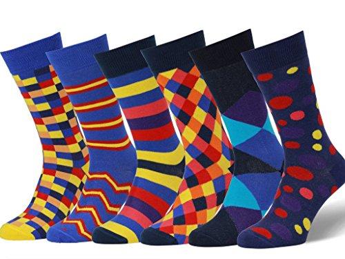 Easton Marlowe 6 Paar Fein Gemusterte Kleidersocken, 6 pairs, navy/blues - mixed bright accent colors, Gr. 43 - 46 EU Schuhgröße