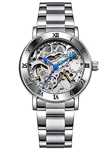 Alienwork Automatik Armbanduhr Damen Herren Uhr Edelstahl Armband Metallarmband Metallband silber Automatikuhr Herrenuhr Damenuhr Skelett