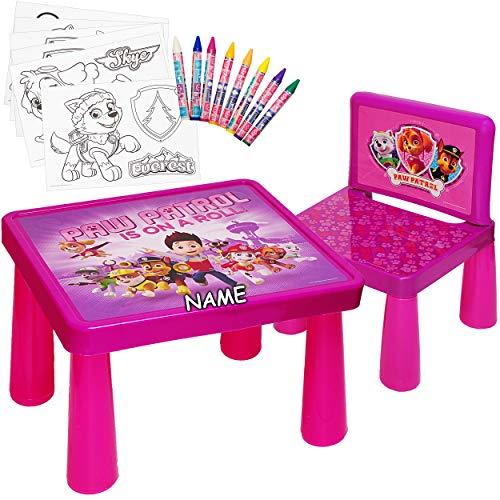 Set: Tisch & Stuhl - incl. Malvorlagen + Stifte -  Paw Patrol - Hunde  - inkl. Name - Maltisch / Zeichentisch / Schreibtisch / Spieltisch - für Kinder aus K.. ()