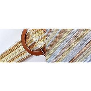 AeMBe - Fadenvorhang Fadengardine Türvorhang - 150cm X 250cm - Weiß / Creme / Beige / Silber - Höchste Qualität
