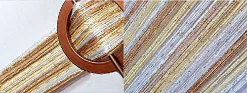 AeMBe – Fadenvorhang Fadengardine Türvorhang – 150cm X 250cm – Weiß / Creme / Beige / Silber – Höchste Qualität