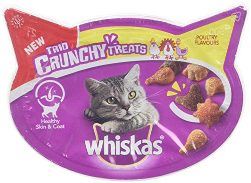 Whiskas Trio Crunchy Poultry Flavours Cat Treats, 55 g, Pack of 8