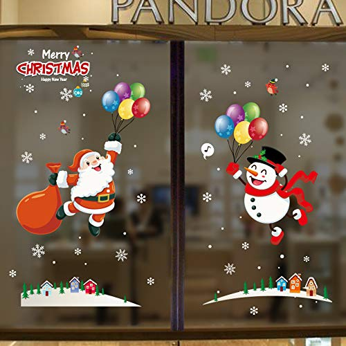 2-Pack Santa and Snowman Window Clings Decal Christmas Stickers Winter Wonderland Decorations Ornaments Party Supplies (Multiple styles)
