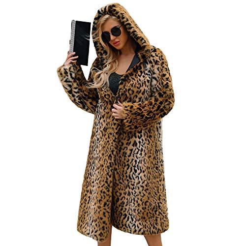 Abrigos de otoño Invierno, Dragon868 Mujeres cálidas de Invierno Leopardo Impreso Capucha de Piel sintética Abrigos Largos(Amarillo,3XL)