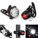 HCFKJ Wiederaufladbare LED Bike Light Fahrradlampe Set Komposter Frontleuchte Rücklicht USB