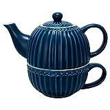 GreenGate STWTEFAALI2204 Alice Teekanne mit Tasse Dark Blue 15 cm (1 Stück)