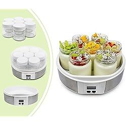 Leogreen - Yaourtière, Machine pour Yaourt Fait Maison, 7 pots, avec minuteurs, 23 x 23 x 12 cm, Blanc, Capacité par pot: 0,21 L