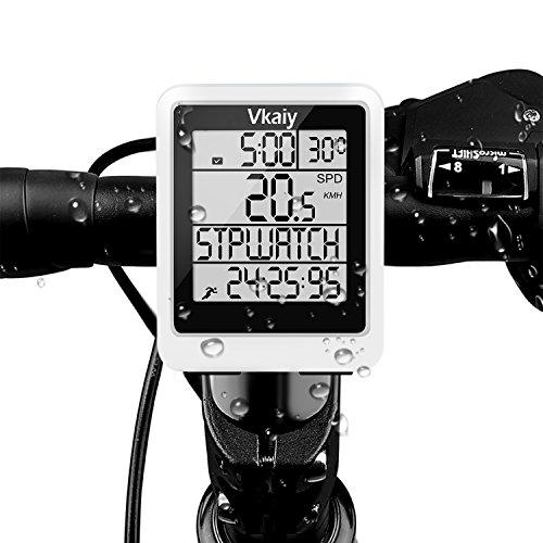 Vkaiy Fahrradcomputer Kabellos, Fahrradtacho/Radcomputer, 20 Funktionen Bike Kilometerzähler, Reed-Sensor/Multifunktion mit LCD-Hintergrundbeleuchtung Display Wasserdicht