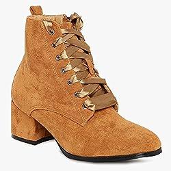Flat n heels Womens Tan Block heel Boots