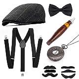 MMTX 1920s Jahre Herren Kostüm Accessoires Zubehör Set Flapper Mafia Gatsby Kostüm-Set mit Panamahut,Verstellbar Y-Back-Hosenträger, Fliege, Vintage Taschenuhr und Plastikzigarre
