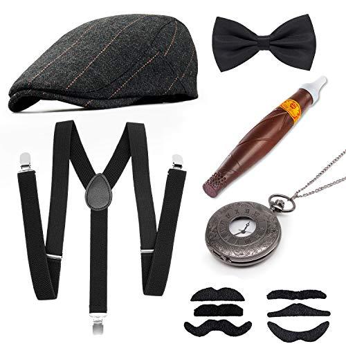 MMTX 1920s Jahre Herren Kostüm Accessoires Zubehör Set Flapper Mafia Gatsby Kostüm-Set mit Panamahut,Verstellbar Y-Back-Hosenträger, Fliege, Vintage Taschenuhr und Plastikzigarre (1920er Jahre Mann)