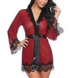 MRULIC Damen Transparent Schlafanzüge Frauen Reizvolle Spitze Patchwork Lange Hülsen Nachthemd Bademantel Wäsche mit Gürtel Bogen(Rot,EU-40/CN-XL)