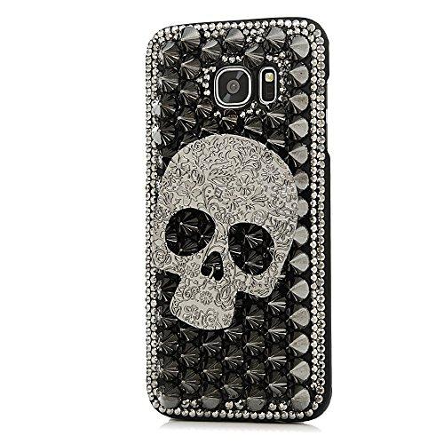 Samsung Galaxy S7 Edge Hülle, Sense TE Strass [3D Handgefertigt] Diamant Serie Bling Schutz Handy Tasche Kristall Transparent Case Cover Hülle mit Retro Anti Staub Stecker - Punk Big Schädel / Schwarz (Licht Schädel-womens)