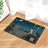 LUIXJGEDF Tierdekor,Katze schaut auf den Mond in Dachziegeln gedeckte Badteppiche,Rutschfeste Fußmatte Bodeneingänge Innenvorder-Fußmatte,Badmatte für Kinder,40x60cm,Badezimmerzubehör