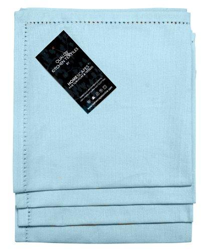 Homescapes Servietten Set 4 teilig hellblau unifarben 45 x 45 cm aus 100% reiner Baumwolle, Stoffservietten hellblau