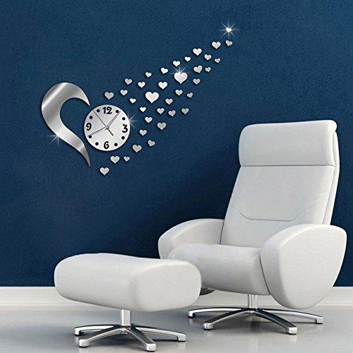 Vetrineinrete® orologio da parete adesivo sticker componibile tridimensionale 3d effetto specchio con cuoricini scia di cuori decorazione murales 0517