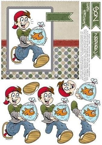 Feuille A4 pour confection de carte de vœux - Goldfish Kid - 6x6 Decoupage carte - Khaki, Denim & Red 2 par Emma Winnell