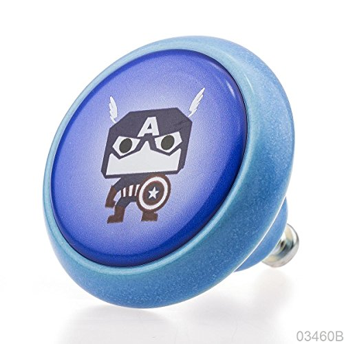 Premium Mobili Pomello Manopola Ceramica 03460B BrK-Blu-216 Captain America per i bambini, ragazzi e adulti - 3D Effetto -100% Made in Germany - Knobs4Kids - America Del Magnete