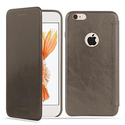 SUMGO® Apple iPhone 6, 6s Hülle echt Leder Schutzhülle Flip Cover Back Case Tasche - in Beige
