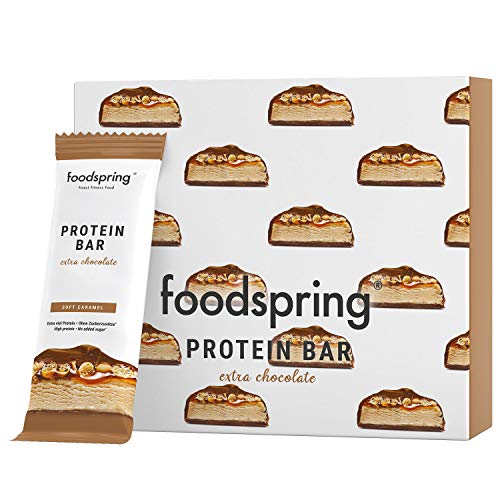 foodspring Protein Bar Extra Schokolade, Soft Caramel, 12-Paket, Echter Schoko-Riegel, Aber 90% weniger Zucker