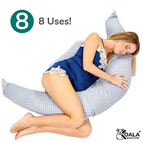 Koala Babycare® Mutterschafts-, Schwangerschafts- und Stillkissen mit Stütze für Rücken, Bauch & Becken – Seitenschläferkissen mit Sicherheits-Schnüren, auch als Stoßstangen zu verwenden - KHUGS+