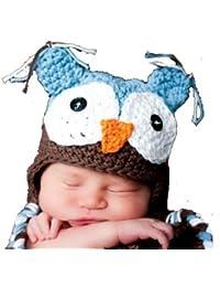 """LadyMYP©Handgemachte Strickmütze, Babymütze, Kindermütze, Hüte, 100% Wolle, Mütze """"Uhu"""" - Blau / Braun"""