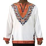 Mxssi T-Shirt Tribal Shirt Vintage Tops da Uomo con Maniche Lunghe Stampa Tradizionale Africana