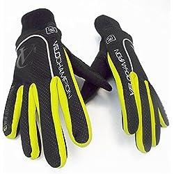 VeloChampion Guantes de ciclismo para otono, impermeables/resistentes al viento - Autumn Gloves (Blk/Fluoro Yel, Small)