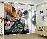 XFKL Tenda per oscuranti in poliestere, Tubi per tapparelle di bambù Stampa 3D Tende anti-UV, Prevenire il rumore, Evitare le radiazioni con la Camera da letto Decorazione soggiorno , 80*84 inch