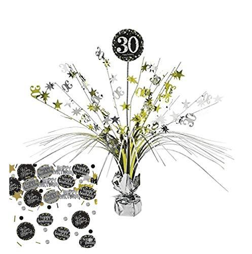 Feste Feiern Tischdekoration 30. Geburtstag I 2 Teile Tischaufsatz Tischaufsteller Kaskade Konfetti Gold Schwarz Silber metallic Party Deko Set Happy Birthday 30