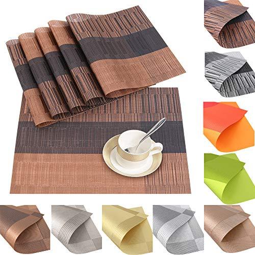 6er Set Platzsets Platzdeckchen Rutschfest Abwaschbar Tischmatten aus PVC Abgrifffeste Hitzebeständig Tischsets Schmutzabweisend (PVC-Brauner Bambus)