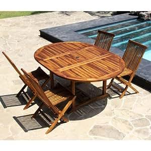 Salon de jardin teck huilé 4 à 8 personnes - Table ronde/ovale larg 120cm long 120/170cm + 4 chaises pliantes