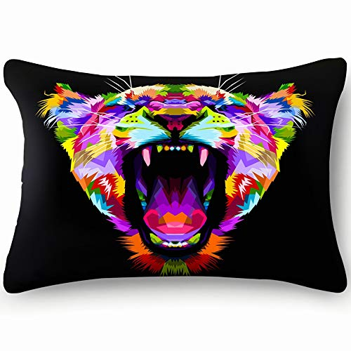 dfgi Angry Colorful Lion on pop Art Animals Wildlife Animal Animals Wildlife Decorative Pillow Cover Soft and Cozy, Standard Size 20