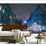 Murales 3D Personalizzati, Svizzera Case Inverno Natale Via Notte Sfondi, Soggiorno Divano Tv Parete Camera Da Letto Papel De Parede Decorazione Di Mobili (W)300x(H)210cm