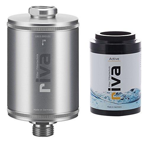riva Filter | Trinkwasserrfilter-Set Active (Silber) | Gesund Trinken mit Aktivkohlefilter. Reduziert Schadstoffe - schont Nährstoffe. Wasserhahn-Filter für Küche + Spülenunterbau, Bad