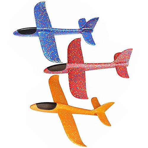 Skitic 3Pcs Kinder Gleitflug Flugzeug Spielzeug, Styroporflieger Outdoor Wurf Segelflugzeug Werfen Fliegen Modell- (Blau + Rot + Orange)