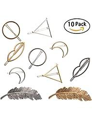 NALATI 10 Pcs Femme Clips de Cheveux Barrettes Accessoires pour les Filles (Or,Argent)