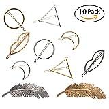 NALATI 10 Pcs Femme Pinces Barrettes à Cheveux Clips de Cheveux en Métal Accessoires de Coiffure pour les Filles (Or,Argent)...