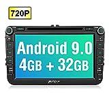 PUMPKIN Android 9.0 Autoradio für VW Radio mit Navi 4GB / 8 Core Unterstützt Bluetooth DAB + CD DVD WLAN Android Auto USB MicroSD 2 Din 8 Zoll 720P IPS Bildschrim