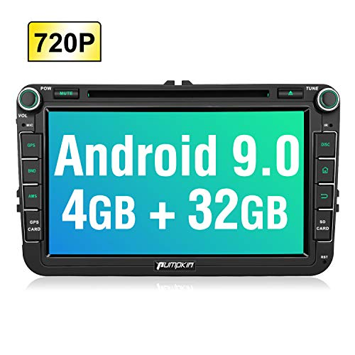PUMPKIN Android 9.0 Autoradio für VW Radio mit Navi 4GB+ 32GB Unterstützt Bluetooth DAB + CD DVD WLAN 4G Android Auto USB MicroSD Doppel Din 8 Zoll Bildschrim
