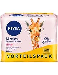 NIVEA 3-in-1 Mizellen Reinigungstücher 2er Pack (2 x 25  Stück), sanfte Gesichtsreinigungstücher, pflegende  Abschminktücher spenden Feuchtigkeit und Schutz
