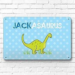 Personalizado dinosaurio niños del cartel A4retro de metal para puerta o pared decoración