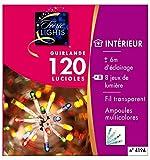 DECO NOEL - Guirlande lumineuse 120 Lucioles multicolores 6 mètres d'éclairage et 8 jeux de lumière