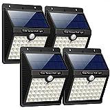 Bakaji Set 4pz Lampada Ricarica Solare Faro 46 Led Esterno con Sensore di Movimento PIR Luce Bianco 6500K Alta Luminosità 200LM Faretto Giardino Illuminazione di Sicurezza Faretti Solari IP44