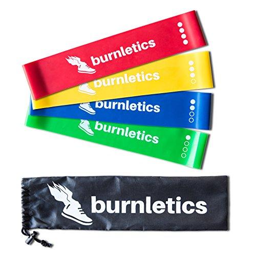 burnletics® Fitnessbänder 4er Set + Tasche + Anleitung, Loop Gymnastikbänder, Bunt, Pilates & Reha Widerstandsbänder