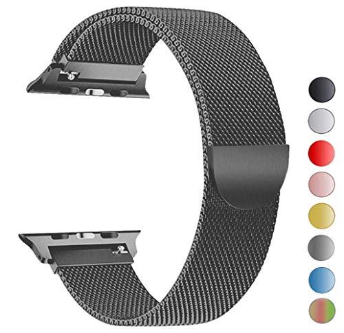Tervoka Ersatz Armbänder für Apple Watch Series 4 44mm und Series 3/2/1 42mm Spacegray Milanese Mesh Loop mit Magnetverschluss Edelstahl Armband